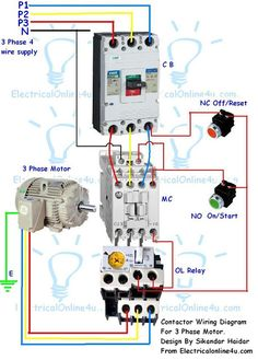 single phase motor contactor wiring diagram elec eng world w t Motor Starter Wiring Diagram contactor wiring guide for 3 phase motor with circuit breaker, overload relay, nc no switches