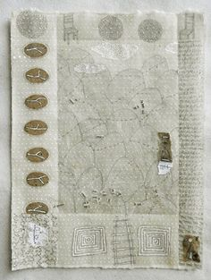 Patti Roberts-Pizzuto, Notes From The Ancestors no. 3, mixed media drawing 2012 pencil, ink, collage, beeswax on handmade paper