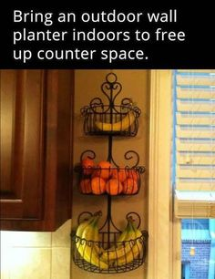 Fresh produce can be stored in recycled planters to help declutter kitchen countertops
