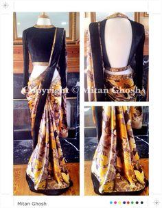 Printed saree with plain velvet blouse
