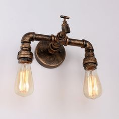 Rustic Copper Pipe Wall Light with 2 Bulb Sockets Wall Sconces Vintage Wall Sconces, Vintage Wall Lights, Rustic Wall Sconces, Modern Sconces, Bathroom Wall Sconces, Candle Wall Sconces, Outdoor Wall Sconce, Wall Sconce Lighting, Rustic Lighting