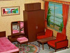 Vintage Mid Century Modern Yonezawa Dollhouse Bed Room by ggsdolls