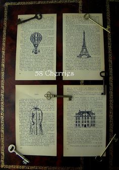 Vintage French Book Paper - Steampunk art