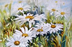 Floral watercolor by Marney Ward (Marney Ward) Daisy Painting, Artist Painting, Watercolour Painting, Watercolor Flowers, Art Flowers, Watercolours, Art Floral, Cross Paintings, Flower Paintings