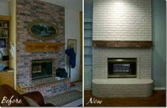 DIY brick fireplace update {for my parents}