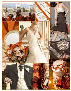 Brown, orange, ivory, autumn, fall wedding inspiration