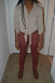 beige shirt and copper pants
