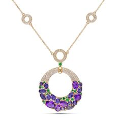 Miadora 14k Yellow Gold Multi-gemstone and 1ct TDW Diamond Necklace (G-H, SI1-SI2) | Overstock.com Shopping - The Best Deals on Gemstone Nec...