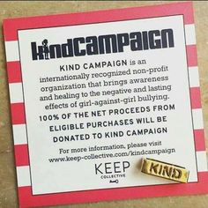 """February 12-18 is Random Acts of Kindness Week! The idea is that one simple act of kindness can inspire countless more.  Another reason to love KEEP Collective is their partnership with the KIND Campaign which is a non-profit organization documentary film and school program that brings awareness and healing to the negative and lasting effects of abuse within the """"Girl World."""" Through this partnership KEEP donates 100% of the net proceeds from eligible purchases to the KIND campaign <3…"""