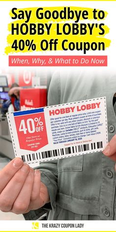Everyone loves Hobby Lobby hacks, right? Well, shopping tip #1 has always been: You don't shop at Hobby Lobby without the 40% off coupon. You could always walk in with either a paper coupon or the in-app coupon and get one regularly priced item for 40% off. But this staple of the store's shopping experience is on its way out. The Krazy Coupon Lady tells you what you need to know and what to do now!