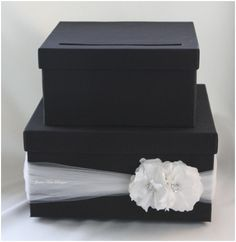 DIY wedding card box  I like tulle pulled tight in accent color!