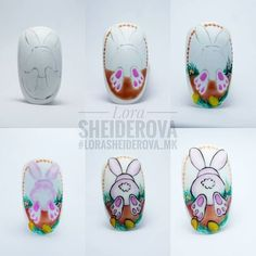 simple nail art tutorial for beginners Easter Nail Designs, Easter Nail Art, Nail Art Designs, Christmas Manicure, Holiday Nails, Nail Art Hacks, Spring Nail Art, Spring Nails, Gel Nagel Design