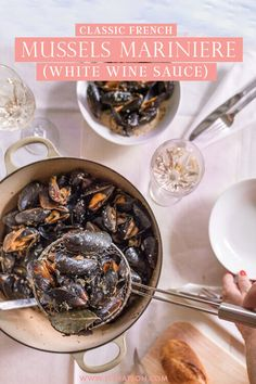 Want to learn how to cook - mussels Mariniere ? If you love seafood, fresh mussels, white wine, and French cuisine, you'll love preparing this recipe where I share my step by step process to how to make this delicious French recipe for mussels in white wine cream sauce. Seafood Recipes, Gourmet Recipes, Appetizer Recipes, New Recipes, Dinner Recipes, Delicious Recipes, French Recipes, Party Recipes, Dinner Ideas
