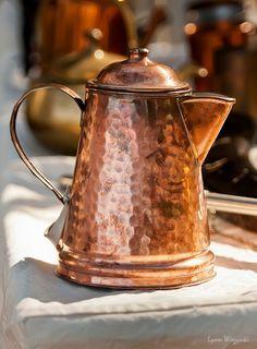 """Copper Pot"" by Lynn Wiezycki. I need a copper kettle in my life. Copper Pots, Copper Kitchen, Copper And Brass, Antique Copper, Hammered Copper, Copper Dishes, Copper Decor, Copper Accents, Vintage Coffee"