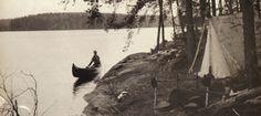 Vintage canoe camping photo