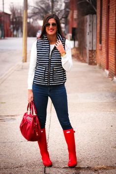 ivory crewneck sweater + navy striped quilted vest + skinny jeans + red Hunter wellies
