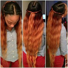 Long wavy Hair. Black at the roots and Orange/Golden Brown