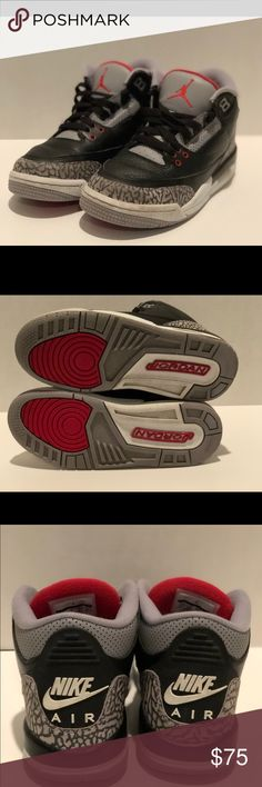 0a0e3dc623ae6f Nike Air Jordan Black Cement 4.5Y 2018 release Jordan 3 Black Cement  Pre-Owned