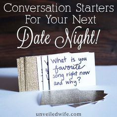 Conversation Starters For Date Night! --- I recently did a massive giveaway for a lover's picnic basket to one lucky couple and in it I added handmade conversation cards. I thought this would be a nice touch for any couple looking to engage in […]… Read More Here http://unveiledwife.com/conversation-starters-date-night/