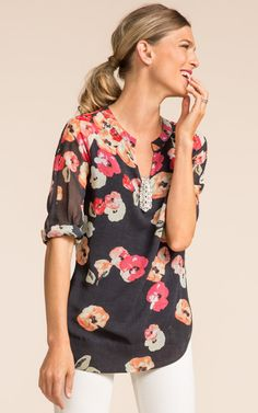 Poppy Blouse - CAbi Spring 2014 Collection - Just ordered this!  The Center pin is separate and I do not like it with this.
