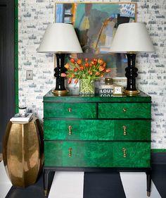 Emerald green & gold