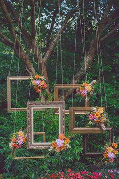 Frames hanging in trees for a photo backdrop