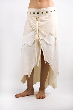 ORGANIC LONG SKIRT WHITE:- These beautiful tribal, unique, funky skirts are made with heaps of love and total attention to detail. They are elegant and beautiful made from certified organic cotton/lycra, bamboo. No two pieces are alike and there is a touch of gypsy and a touch of steampunk in each creative tribal piece. Using only organic cotton and beautifully created brass accessories they are one of a kind indeed