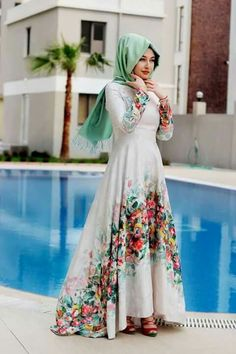 Ideas for dress hijab remaja Hijab Abaya, Hijab Dress, Abaya Fashion, Modest Fashion, Fashion Dresses, Elegant Dresses, Pretty Dresses, Beautiful Dresses, Muslim Women Fashion