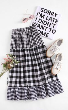 hippie outfits 148829962671282268 - Tiered Mixed Gingham Skirt Source by Hippie Outfits, Teen Fashion Outfits, Modest Fashion, Women's Fashion Dresses, Fashion Tips, Blouse And Skirt, Dress Skirt, Gingham Skirt, Skirt Outfits
