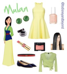 """Mulan from ""Mulan"" (1998)"" by todisneyandbeyond ❤ liked on Polyvore featuring Elizabeth and James, 1 ONE, Loewe, Jimmy Choo, Essie, Yves Saint Laurent and NARS Cosmetics"