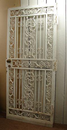 Gorgeous Vintage Antique Early 1900s Architectural Victorian White Iron Gate Garden Door. $345.00, via Etsy.