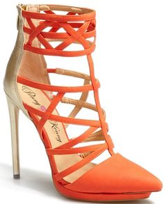 Penny Loves Kenny Cross Strappy Two-Tone Pointed Toe Sandal Orange Gold $88.95 #shoes #heels CLICK HERE for more: http://www.needcuteshoes.com/products/penny-loves-kenny-cross-strappy-two-tone-pointed-toe-sandal-orange-gold/