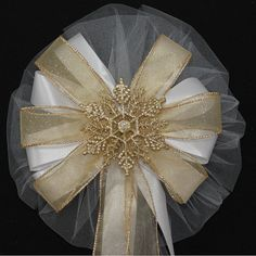 Gold Glitter Snowflake Wedding Pew Bows by PackagePerfectBows, $7.99