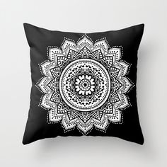 mandala pillow/black pillow/white pillow/black and white pillow/elegant pillow/chic pillow/zen pillow/mandala throw pillow/mandala decor by haroulitasDesign on Etsy https://www.etsy.com/listing/246364042/mandala-pillowblack-pillowwhite