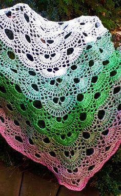 """Háčkovaný+šátek+""""Milagros""""+Velký+háčkovaný+šátek+z+duhového+klubka,+v+kombinaci+bílá-zelenkavá-růžová.+Šátek+je+z+příjemné+příze,+velmi+lehký,+měkký+a+příjemný+na+dotek.+Má+krásný+vzor,+barvy+se+jemně+prolínají.+Elegantní+módní+doplněk+pro+jakoukoliv+příležitost.+Rozměry:+šířka+150+cm,+výška+80+cm.+V+tomto+provedení+jediný+kus+-+originál+k... Crochet Scarves, Crochet Shawl, Color Blending, Single Piece, Beautiful Patterns, Pink Color, Fashion Accessories, Blanket, Blankets"""
