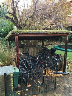 Bicycle Storage Shed, Bike Shed, Bike Shelter, Porch Area, Getaway Cabins, Love Garden, Pergola Designs, Garden Projects, Garden Inspiration