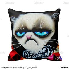 Durty Urban~ Sour Puss Throw Pillow