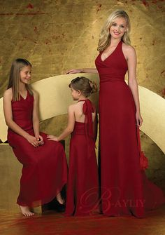 Apple Red Junior Bridesmaid Dresses | Affordable Red Jr Bridesmaid Dress Halter Floor-length WPD03083