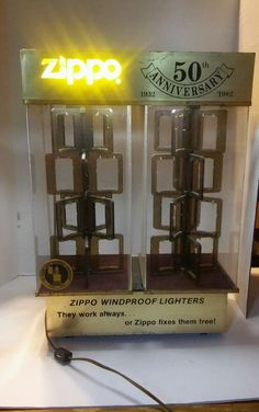 50th Anniversary Zippo Lighter Rotating Lighted Store Personal Display Rare