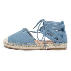 Sand Storm Blue Denim Lace-Up Espadrilles ($25) ❤ liked on Polyvore featuring shoes, sandals, blue, lace up sandals, bamboo shoes, blue espadrilles, laced sandals and blue sandals