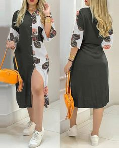 Casual Wear, Casual Dresses, Casual Outfits, Dress Sewing Tutorials, Looks Plus Size, Vacation Dresses, Girl Photo Poses, Shirt Designs, Sleeve Styles