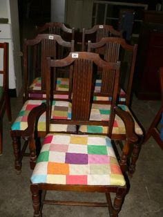 Set Of Dining Room Chairs With Patch Work Upholstery