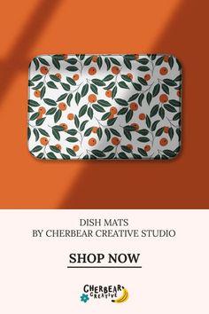 Oranges Dish Mat by Cherbear Creative Studio Design Textile, Fabric Design, Pattern Design, Sustainable Living, Sustainable Fashion, Bandana Bow, Textiles, Eco Friendly House, Etsy Business