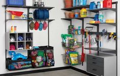freedomRail Garage Shelves and O-Boxes | http://www.organizedliving.com/home/products/freedomrail-garage/inspiration-gallery