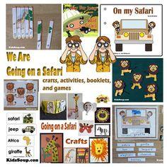 Going on a Safari crafts, activities, games, and emergent readers for preschool and kindergarten- KidsSoup Kindergarten Learning, Preschool Themes, Kindergarten Activities, Teaching, Safari Theme, Jungle Theme, Jungle Safari, Jungle Animals, Wild Animals