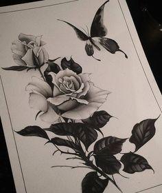 Эскиз тату с розой и бабочкой