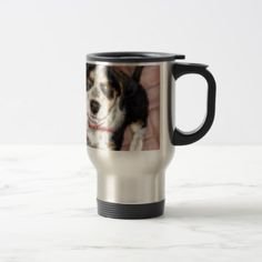 Pooch waiting for a treat travel mug - dog puppy dogs doggy pup hound love pet best friend