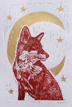 MADE TO ORDER! Two week waiting time. Original, Unframed, Linocut Print - Moonlit Fox - print on Paper - dark red and gold Linocut Prints, Art Prints, Block Prints, Illustrations, Illustration Art, Linoprint, Fox Art, Art Inspo, Printmaking
