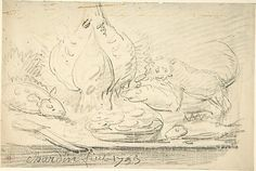 Cat Surveying Fish and Fowl on a Table |  chalk drawing, 1753 | Attributed to Jean-Baptiste Siméon Chardin