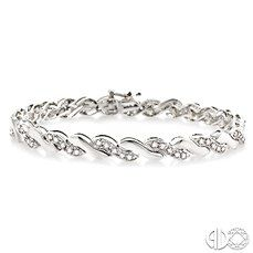 1 Ctw Round Cut Diamond Wave Tennis bracelet in 10K White Gold